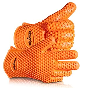 #1 Silicone BBQ Gloves - Perfect For Use As Heat Resistant Cooking Gloves, Grill Gloves,... by Jolly Green Products