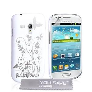 Samsung Galaxy S3 Mini Tasche Galaxy S3 Weiß Und Silber Harte Blumen Schmetterling Hülle