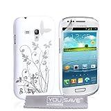 """Samsung Galaxy S3 Mini Tasche Galaxy S3 Wei� Und Silber Harte Blumen Schmetterling H�llevon """"Yousave Accessories�"""""""