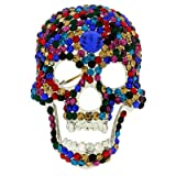 Brooches Store Large Multi Crystal Skull Head Brooch