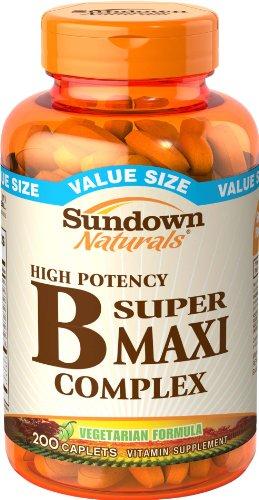 Sundown Naturals B Complex, Super Maxi, 200 Caplets (Pack of 2) (Super B Complex Energy compare prices)