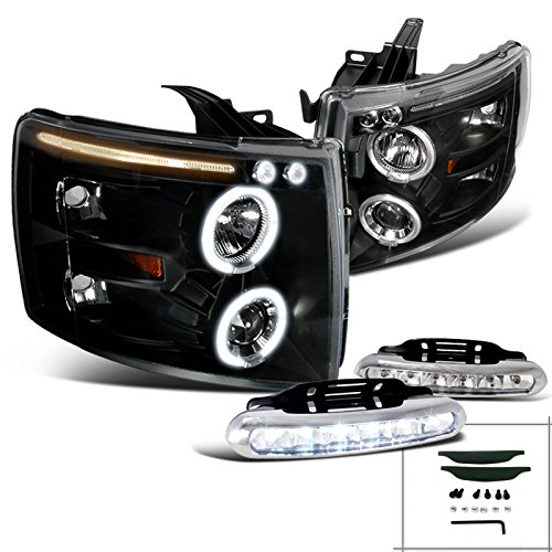 Chevy Silverado Halo Projector Headlights Black+Led Drl Fog Lamps