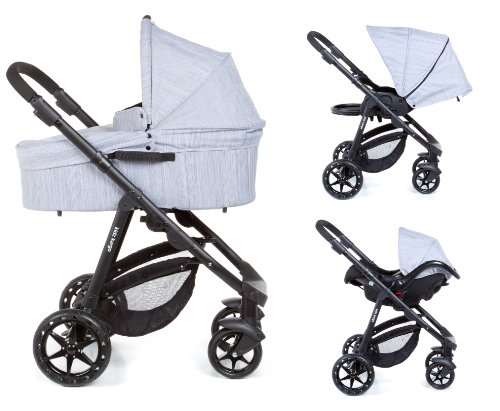 Baby Pram Travel system 3 in 1 car seat & carrycot Newborn single buggy stroller combination pram. Light chassis with reversible seat unit. Lie back from birth pushchair Kidz Kargo Chillax Foxy Silver Black chassis Luxury quality fabrics