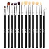 TheFellie Eye Makeup Brushes, Eyeshadow Blending Makeup Brush Set Professional Concealer Eyeliner Eyebrow Cosmetic Brushes ( Black Silver, 12 Pieces ) (Color: Silver)