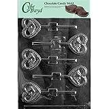 Cybrtrayd W023 Bells In Heart Lolly Wedding Chocolate Candy Mold