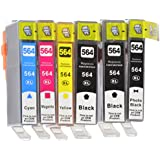 HP Remanufactured Combo Set of Color 564XL Ink Cartridges- Two Black and One Each of Photo Black/ Cyan/ Magenta/ Yellow