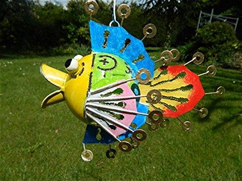 Fish Tea light Candle Holder Metal Hanging Tropical Fish Garden Lantern - Rainbow Fish Tealight