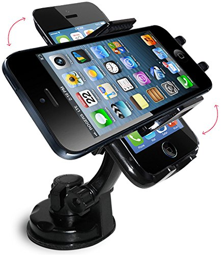 Cell Phone Holder - Quality Invent - Best Mobile Phone Car GPS Dash Mount - Easy to Attach Securely to Windshield Dashboard - Powerful Suction Cup Mount - Universal New Car Mount Holder Accessories for GPS - PDA - iPod - SmartPhone - iPhone 6 5C 5S 5 4S - Samsung Galaxy S5 S4 S3 S2 - HTC One - Sony Ericsson - Nokia Blackberry