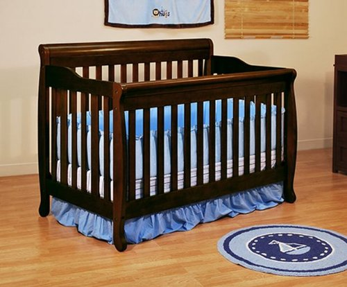Convertible Baby Crib Casual Style In Espresso Finish