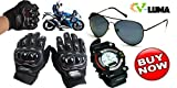 V-Luma Combo of Aviator Sunglass & Pro-Biker Gloves with Showy Sport Watch Black