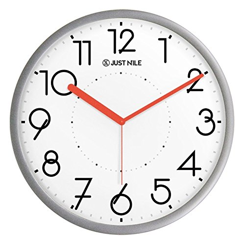 JustNile Silent Non Ticking Modern Wall Clock - 13 Silver Frame/Red Hands