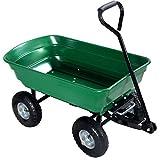 650LB Green Garden Cart Dump Wagon Trailer Lawn Wheels Rolling Storage Wagon Carrier Barrow Air Tires Heavy Duty