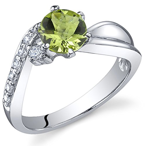 Ethereal Curves 0.75 carats Peridot Ring in Sterling Silver Rhodium Nickel Finish Size 5 - Peora Review