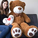 Yesbears Giant Teddy Bear 5 Foot Brown Microfiber Bowtie & Face (Pillow Included) (Color: Brown, Tamaño: 5 Foot)
