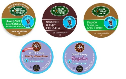 15 Pack – Variety Iced Coffee Sampler K-Cup for Keurig Brewers – Green Mountain Nantucket, French Vanilla, Hazelnut Iced Coffee; Donut Shop Sweet & Creamy Regular Coffee, Sweet & Creamy Nutty Hazelnut Coffee