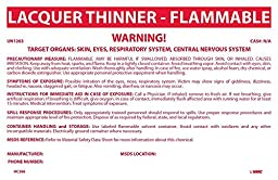 National Marker HC266P Container Labels, Lacquer Thinner-Flammable, 6 1/2 inches X 10 inches, PS Vinyl