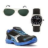Elligator Stylish Black & Blue Sport Shoes With Belt & Wallet For Men's