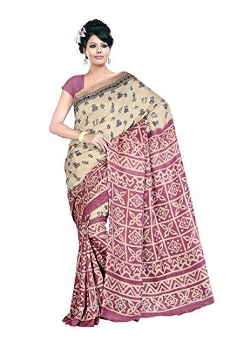 Fabdeal Beige & Light purple Jute silk Printed Saree Sari Sarees