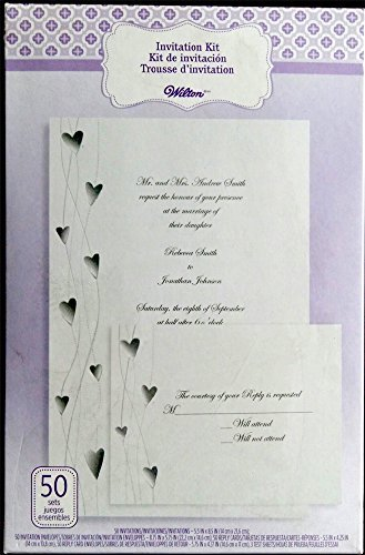 Wilton 50 ct wedding invitation kit hearts arts for Www wiltonprint com templates