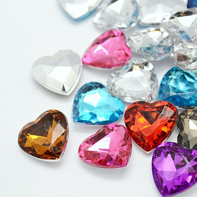 About 25 pcs of Acrylic Rhinestone Cabochons, Mother's Day Craft Components Supply, Faceted Heart, Mixed Color, 10X3MM