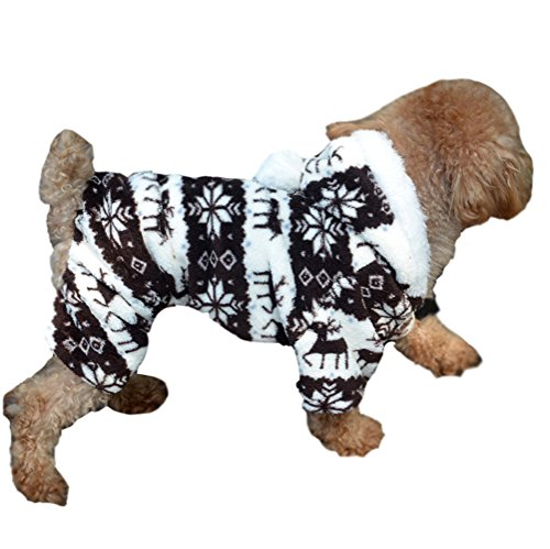 Demarkt Dog Pet Sweetie Clothes Dressing Coral Fleece Lovely Deer Print Warm Cozy Coat/Jumpsuit/Hoodie Coffee Size Xl front-600595