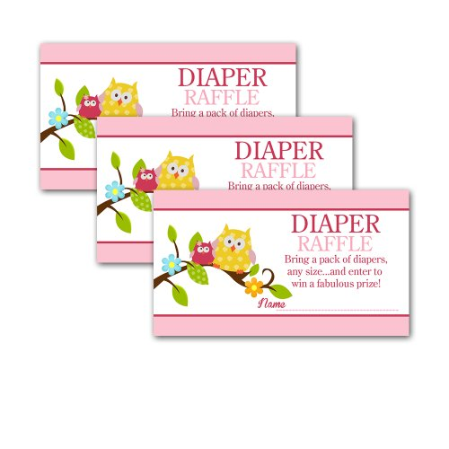 Happy Owls Pink And Yellow Baby Shower Diaper Raffle Tickets 20-Pack front-874619