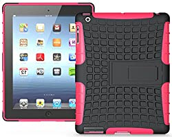 Heartly Flip Kick Stand Hard Dual Armor Hybrid Bumper Back Case Cover For Apple iPad Mini 2 and iPad Mini 3 Tablet With Retina Display - Pink