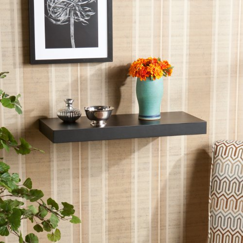 Southern Enterprises Chicago Floating Shelf, 24-Inch, Black
