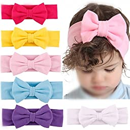 Roewell® Baby Elastic Hair Hoops Headbands and Girl\'s Fashion Soft Headbands (6 Pack set 7)
