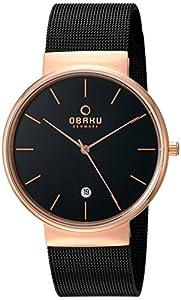 Obaku Men's Quartz Stainless Steel Dress Watch, Color:Black (Model: V153GDVBMB)