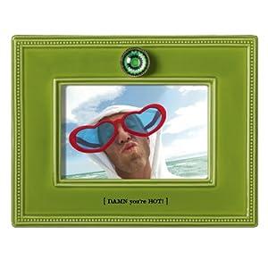 "Grasslands Road My Crazy Life Ceramic Glaze Frame Lime Green ""DAMN you're HOT!"", Holds a 4 by 6-Inch Photo"