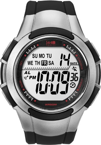 Timex Men's T5K237 1440 Sports Digital Full-Size Black/Silver-Tone Resin Strap Watch