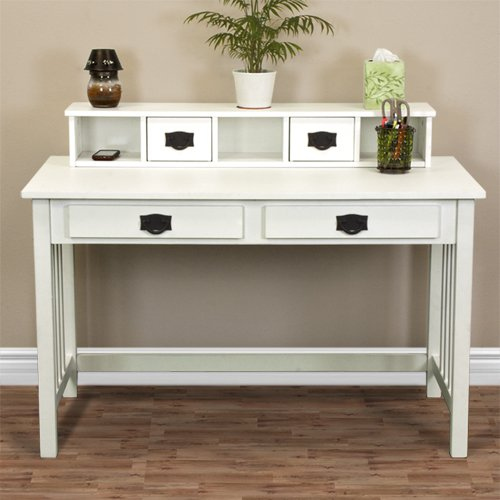 Best Choice Products Mission White Solid Wood Writing Desk