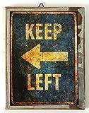 アメリカン雑貨 アンティーク風ミニパネル(木製) ■KEEP LEFT■ アート小物
