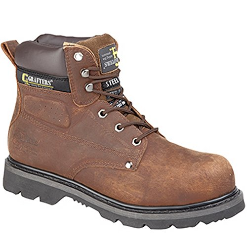 Grafters - Scarpe Stivali Gladiator Punta e intersuola in acciaio Goodyear, marrone (Brown), 35.5