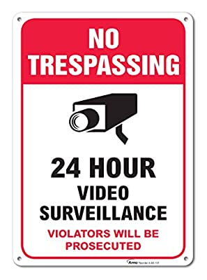 "No Trespassing & Video Surveillance Warning Sign, Large Rust Free 10x14"" Aluminum - By ARMO from ARMO"