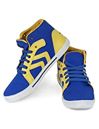 Bersache Men's Blue & Yellow Canvas Sneakers Shoes (Casual Shoes)