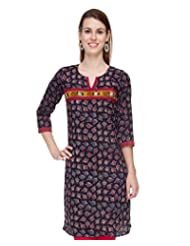 Kapas Jaipuri Floral Printed Black & Blue Cotton Kurti