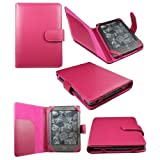 AMAZON KINDLE 4 AND KINDLE PAPERWHITE WI-FI 6 INCH E INK DISPLAY PREMIUM PU LEATHER WALLET BOOK COVER CASE HOT PINK + LCD SCREEN PROTECTOR BY KIT ME OUT UK