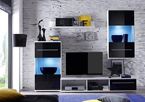 Roller wohnwand black magic schwarz wei led beleuchtung for Wohnwand 200 cm breit