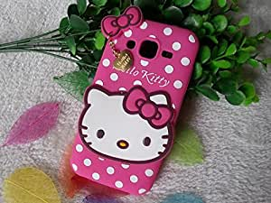 Cute Hello Kitty Silicone With Pendant Back Case Cover For Samsung Galaxy J2 (2016) - Pink