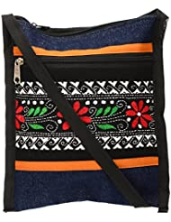 Shanti Niketan Home Made Products Women's Sling Bag (Blue And Black, SNHMP18)
