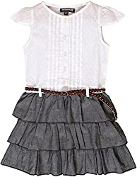 Sequences Girl's Dress(White, 5 - 6 Years )