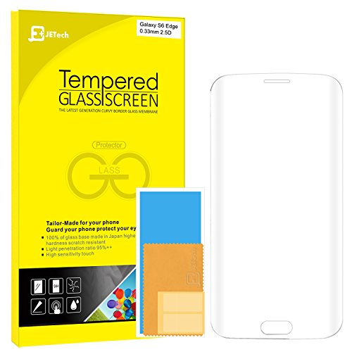 "S6 Edge Screen Protector, JETech Full Screen 5.1"" Premium Curved Tempered Glass Screen Protector Film for Samsung Galaxy S6 Edge (Crystal Clear) - 0893"