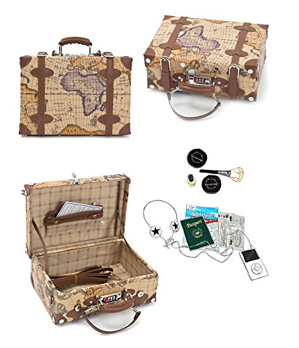 EDDAS ETHOS PVC Vintage & Retro Style Carry-On Luggage and Cosmetic Tote Bag Set with 3 Dial Lock (Product of Korea) 5