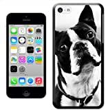 Boston Terrier Dog Black & White Hard Case Clip On Back Cover For Apple iPhone 5C