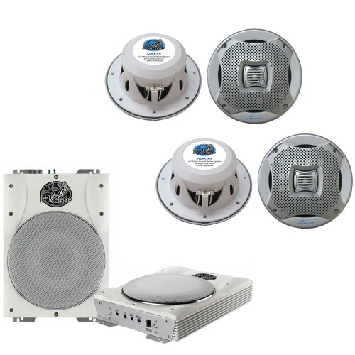Lanzar Marine Amp Woofer and Speaker Package - AQTB8 8'' 1000 Watts Low-Profile Super Slim Active Amplified Marine/Waterproof Subwoofer System - 2x AQ6CXS 2 400 Watts 6.5'' 2-Way Marine Speakers (Silver Color)