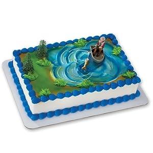 Hunting Scene Cake Decorations : Amazon.com: Fisherman with Action Fish DecoSet Cake ...