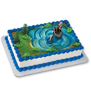 Cake Decorating Kit Of The Month : Amazon.com: Fisherman with Action Fish DecoSet Cake Decoration: Toys & Games