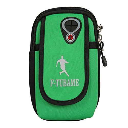 F-TUBAME ランニングベルト&ランニング ポーチ アームポーチ&スマホ アームバンド 防水 6インチのスマホ 収納可能 ランナーポーチ 7色選択可能 グリーン